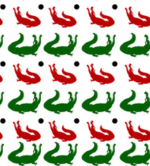 Seamless pattern, two crocodiles (red and green) with open jaws looking up, on white background,