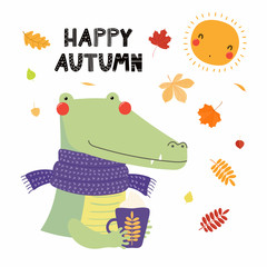 Hand drawn vector illustration of a cute crocodile in muffler, with cup, falling leaves, quote Happy autumn. Isolated objects on white. Scandinavian style flat design. Concept for children print.