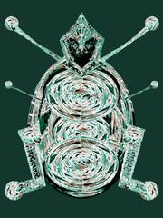 Insecte robot en vert. Intelligence artificielle