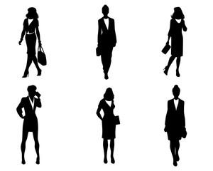 Elegant women silhouettes set