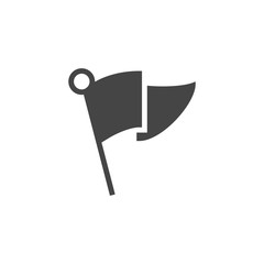 Flag black flat icon. Abstract small flag for indicating location, mark in gps, pointer for travel navigation web sites, apps and other design needs. Game UI pictograph. Vector illustration isolated