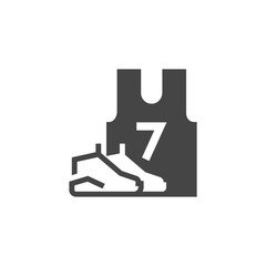 Sneakers and T-shirt with number 7. Black flat icon of sportswear. Unisex uniform for members of team games. Emblem of casual clothes for shops. Vector illustration isolated