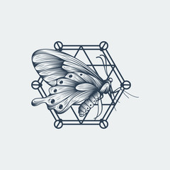 Black and white butterfly over sacred geometry sign, isolated vector illustration 2