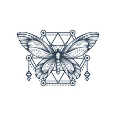 Black and white butterfly over sacred geometry sign, isolated vector illustration