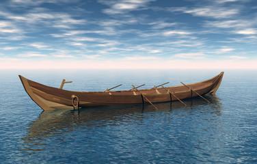 Hölzernes Ruderboot