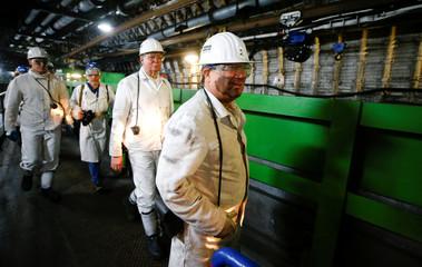 Armin Laschet, federal prime minister of NRW, leaves Germany's last coal mine 'Prosper Haniel' in Bottrop