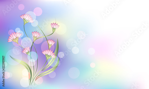 Fantasy And Magical Background With Bokeh And Fabulous Flowers In