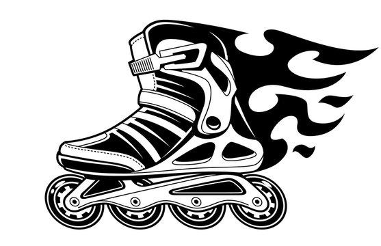 Burning Roller Skate in Motion