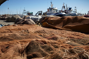 Fishing nets laid on surface