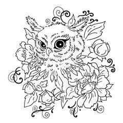 Owl with flowers. Contour illustration on white background. Vector isolated. Element of design. Prints for textiles.