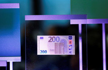 A new 200-euro banknote is presented at the ECB headquarters in Frankfurt