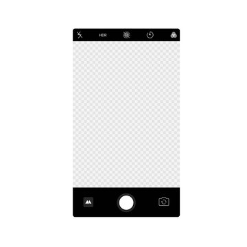 Smartphone camera app screen interface background. Vector viewfinder display mockup photo composer.