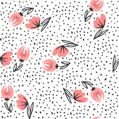 Fototapete - Seamless pattern with red flowers