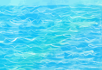 hand-drawn blue water background