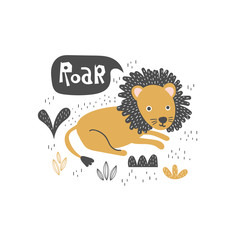 Doodle lying lion baby illustration