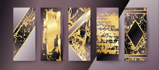 Set of elegant brochure, card, background, cover, wedding invitation. Lilac and golden marble texture.