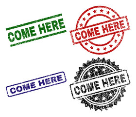 COME HERE seal prints with damaged style. Black, green,red,blue vector rubber prints of COME HERE label with dirty style. Rubber seals with round, rectangle, rosette shapes.