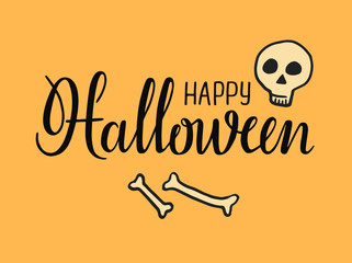 Halloween lettering. Happy Halloween Text Banner. Vector illustration. Holiday calligraphy with bat