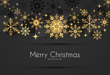 Elegant Christmas Background with Gold Shining Snowflakes.