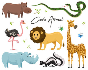 Cute animals for baby. Wild giraffe rhinoceros. ostrich and skunk. snake and hippopotamus. lion and tiger. vintage world. Cartoon vector.