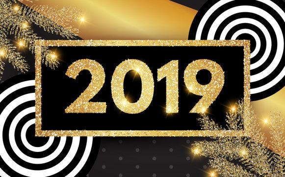 Happy New 2019 Year! Elegant Gold Invitation Template.