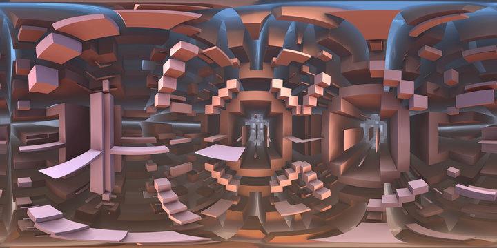 360 degree strange labyrinth world panorama, equirectangular projection, environment map. HDRI spherical panorama