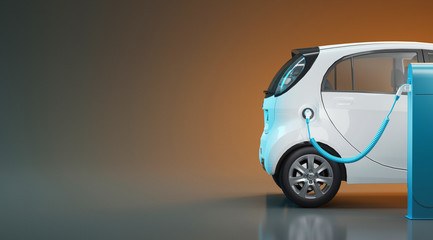 Electric car in charge, ecology, 3d render illustration