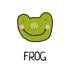 Cartoon vector flat illustration of cute frog face for baby card and invitation