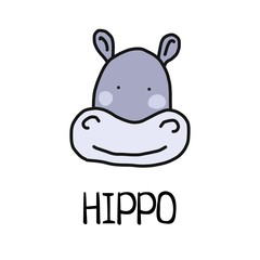 Cartoon vector flat illustration of cute hippo face for baby card and invitation
