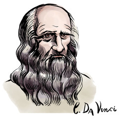 Leonardo da Vinci watercolor portrait