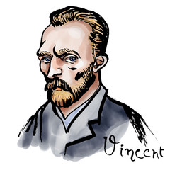 Vincent van Gogh watercolor portrait