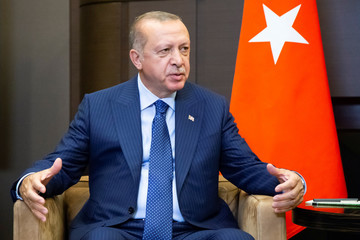 Turkish President Erdogan attends a meeting with his Russian counterpart Putin in Sochi