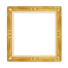 Golden ancient vintage frame isolated on white background