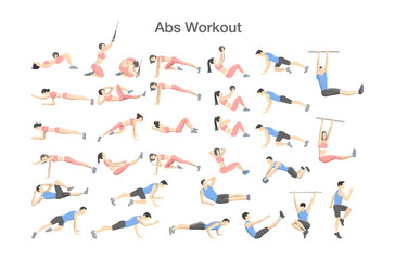 ABS workout for men and women. Sport exercises