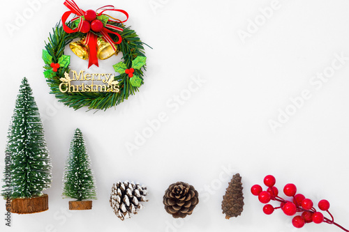 christmas and new year background christmas wreath miniature fir tree pine cones and
