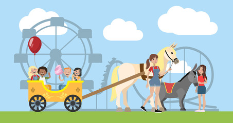 Children having fun riding on the horse