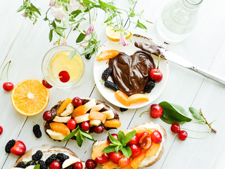 Toasts with chocolate and fruits
