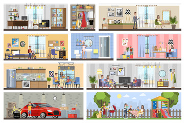 House building interior plan with the garage