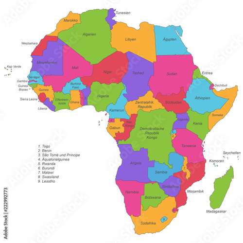 Karte Afrika.Afrika Politische Karte Beschriftet Stock Image And