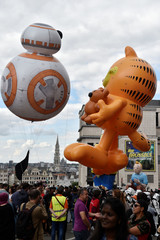 Giant balloons of comic strip and movie characters float during the Balloon Day Parade in Brussels