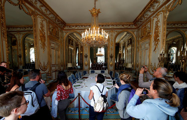 People visit the Elysee Palace during the European Heritage Days event at the Elysee Palace in Paris