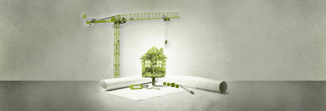 projet immobilier,maison écologie,arbre et grue
