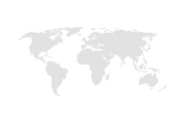 Grey dotted world map vector flat design.