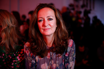 Lucy Yeomans, Editor-in-chief of a Net-a-Porter, poses at London Fashion Week Women's in London