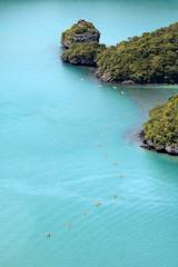 kayaking groups around the island at Ang Thong Thailand.