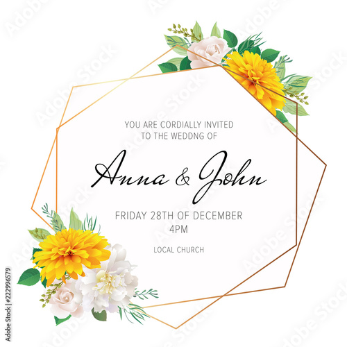 Wedding Floral Invite Invitation Card Design With Yellow