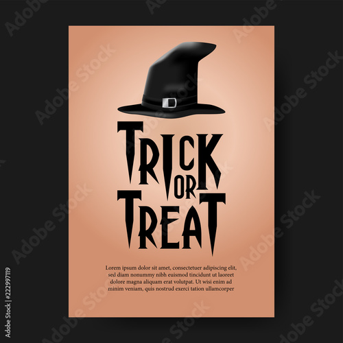halloween party invitation with wizard hat trick and treat event