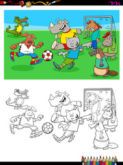 animal characters playing soccer coloring book