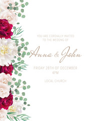 Elegant wedding card with dark red roses and white peonies. Can be used as invitation card for wedding, birthday and other holiday. All elements are isolated and editable. EPS 10