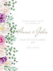 Elegant wedding card with purple roses and white peonies. Can be used as invitation card for wedding, birthday and other holiday. All elements are isolated and editable. EPS 10